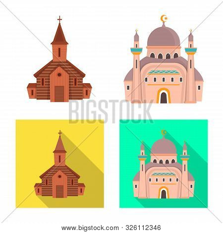 Isolated Object Of Cult And Temple Icon. Collection Of Cult And Parish Vector Icon For Stock.
