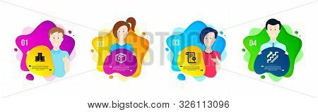 Package, University Campus And Technical Documentation Icons Simple Set. People Shapes Timeline. Sta