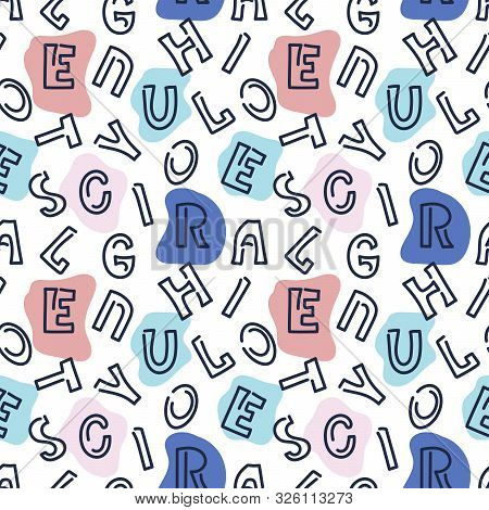 Abstract Letters Seamless Pattern. Can Be Used As A Fabric, Wrapping Paper, Backdrop
