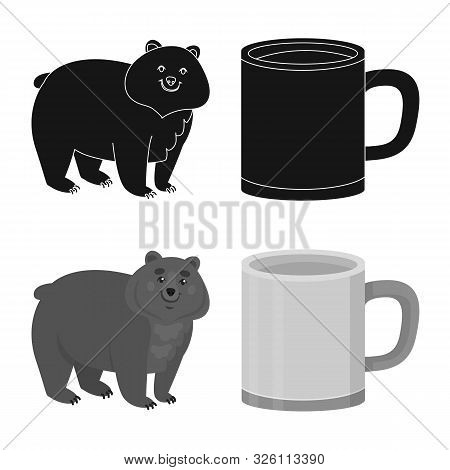 Isolated Object Of Cookout And Wildlife Sign. Set Of Cookout And Rest Stock Vector Illustration.