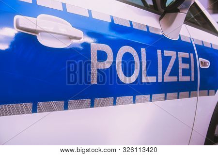 -polizei- Is The German Word For Police, Here Written On A German Police Car