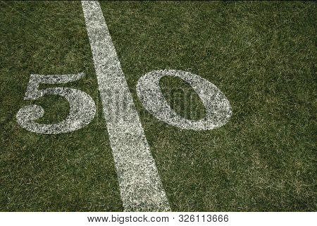 Fifty Yard Line Background American Football Game Field And Turf
