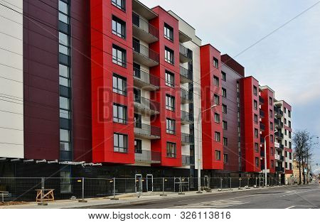 Red House. Blocks. High Rise Buildings. European Architecture. Construction Industry And Development