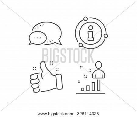 Stats Line Icon. Chat Bubble, Info Sign Elements. Business Management Sign. Best Employee Symbol. Li
