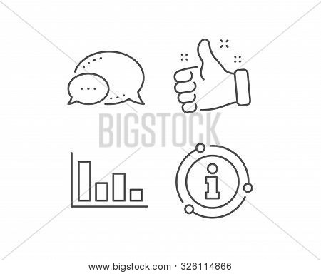Histogram Column Chart Line Icon. Chat Bubble, Info Sign Elements. Financial Graph Sign. Stock Excha