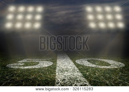 American Football Field Fifty Yard Line Background Image Grass And Turf Inside A Stadium