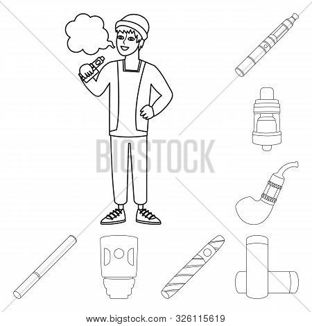 Vector Illustration Of Nicotine And Filter Logo. Collection Of Nicotine And Pipe Stock Symbol For We