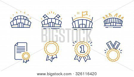 Sports Arena, Arena And Success Line Icons Set. Certificate, Sports Stadium And Reward Signs. Honor