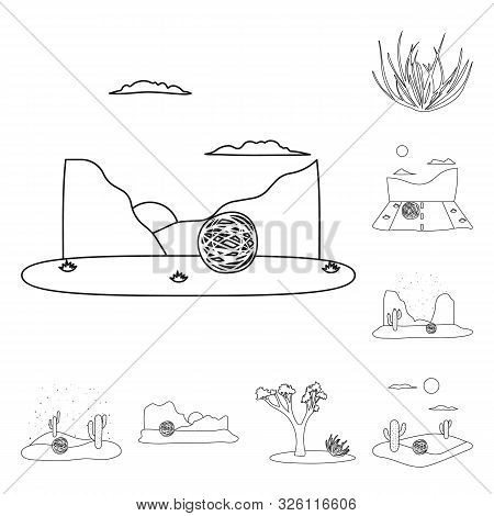 Vector Design Of Wilderness And Texas Icon. Set Of Wilderness And Pasture Vector Icon For Stock.