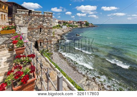 Panorama With Ancient Fortifications In Old Town Of Sozopol, Burgas Region, Bulgaria