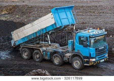 Hornafjordur Iceland - February 27. 2019: Scania Truck Unloading Mud At The Tip