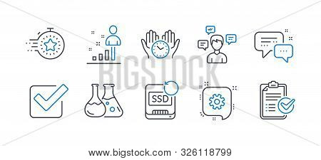 Set Of Education Icons, Such As Timer, Stats, Chemistry Lab, Conversation Messages, Cogwheel, Recove