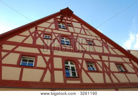 Half-Timbered House In Rothenberg, Germany