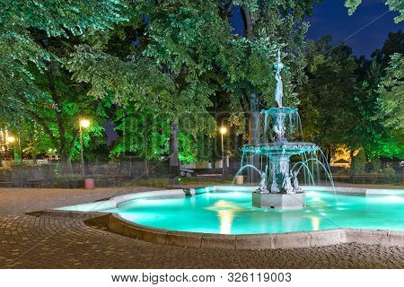 Plovdiv, Bulgaria - August 25, 2019: Night Photo Of Fountains At Tsar Simeon Garden In City Of Plovd