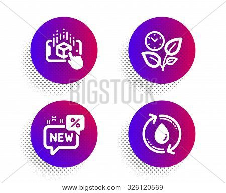 Augmented Reality, New And Leaves Icons Simple Set. Halftone Dots Button. Refill Water Sign. Phone S