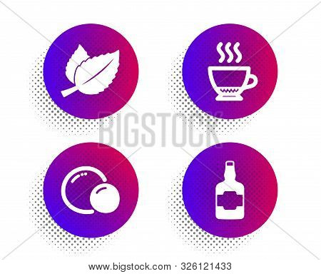 Mint Leaves, Peas And Espresso Icons Simple Set. Halftone Dots Button. Whiskey Bottle Sign. Mentha H