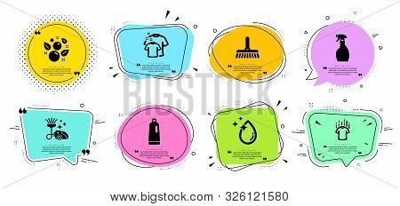 Spray, Water Drop And Dry T-shirt Line Icons Set. Chat Bubbles With Quotes. Clean Bubbles, Clean T-s