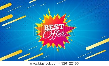 Best Offer Badge. Discount Banner Shape. Sale Coupon Bubble Icon. Abstract Background. Modern Concep