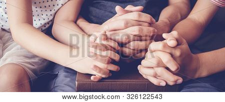 Children Praying With Parent At Home, Family Pray