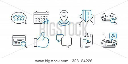 Set Of Technology Icons, Such As Journey Path, Search Car, Stars, Speech Bubble, Credit Card, Locati