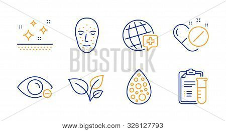Clean Skin, Artificial Colors And Face Biometrics Line Icons Set. Myopia, Leaves And Medical Pills S