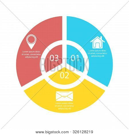Circle Infographic Template With 3 Options For Presentations Or Charts. Business Concept Round Diagr