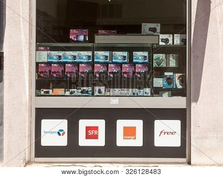 Lyon, France - July 15, 2016: Logos Of The Four Telecom Operators, Competitors & Mobile Phone Carrie