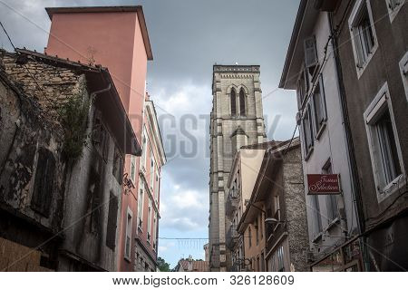 Bourgoin-jallieu, France - July 15, 2019: Eglise Saint Jean Baptiste Church In A City Of Dauphine Re