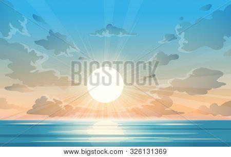 Ocean Sunrise Illustration. Sunrise At Sea Vector Image, Tropical Sea Horizon View With Sun At Blue
