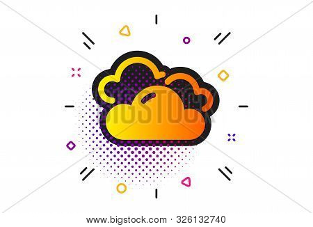 Clouds Sign. Halftone Circles Pattern. Cloudy Weather Icon. Sky Symbol. Classic Flat Cloudy Weather