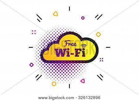 Free Wifi Sign. Halftone Dots Pattern. Wifi Symbol. Wireless Network Icon. Wifi Zone. Classic Flat W