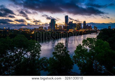 Austin Texas Aerial Drone View Above Cityscape Nightscape Dawn Sunrise With Blue Hour Illuminated Ci