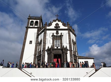 San Miguel, Portugal - September 15, 2019: People Gathering For A Ceremony On Church Of San Pedro (i