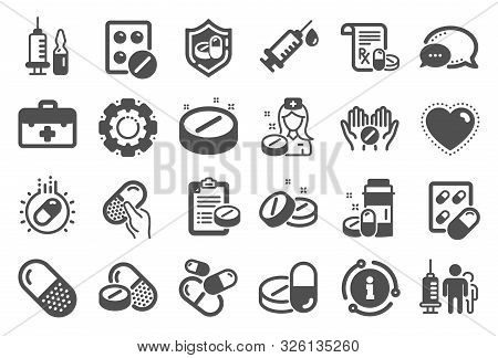 Medical Drugs Icons. Healthcare, Prescription And Pill Signs. Pharmacy Drugs, Medical Nurse, Recipe