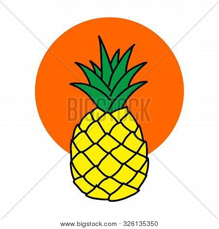 Pineapple Icon. Pineapple Icon Vector Flat Illustration For Graphic And Web Design Isolated On Black