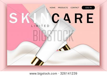 Vector 3d Realistic Cosmetic Bottles, Wave Cream On Pink Site Template With Typographic Background.