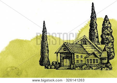 House And Trees In The Village, Farm Plantation On A Background Of Green Olive Field, Hill, Southern