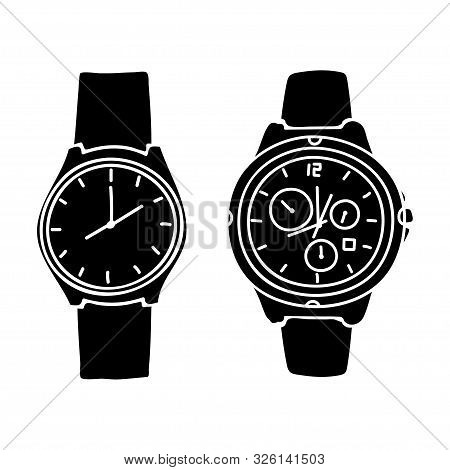 Silhouette Design Wristwatch Collection Isolated White Background. Watch Icon Isolated On White Back