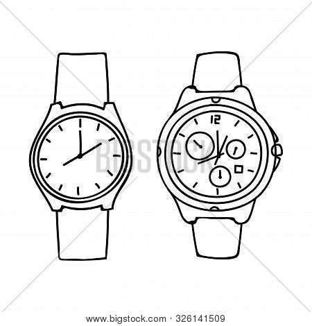 Outline Watch Design Isolated White Background. Watch Icon Isolated On White Background From Watches
