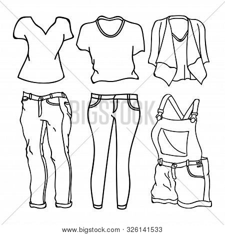 Collection Of Clothing Design Vector Outline Isolated White Background. Clothes Icon Isolated On Whi