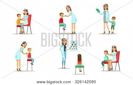 Doctor Doing Medical Examination Of Kids Set, Boys And Girls Examining At Pediatrician, Ophthalmolog