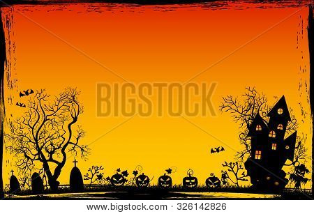 Halloween Night. Pumpkins, Castle, Tree Silhouettes, Grass, Scarecrow, Cemetery On A Sunset Backgrou