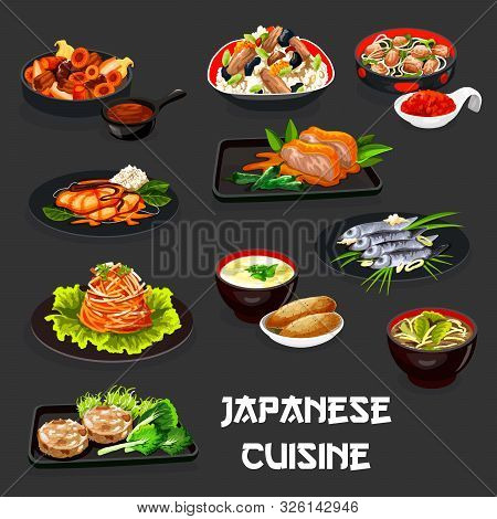 Japanese Cuisine Meat Dishes With Baked Fish And Asian Vegetables. Vector Chicken Rice With Eggs And