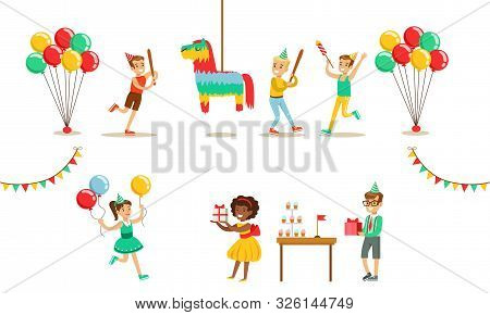 Kids Celebrating Birthday Set, Boy Going To Broke The Pinata, Boys Nd Girls Having Fun At Birthday P