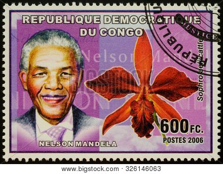 Moscow, Russia - October 06, 2019: A Stamp Printed In Congo Shows Portrait Of Nelson Mandela, Politi