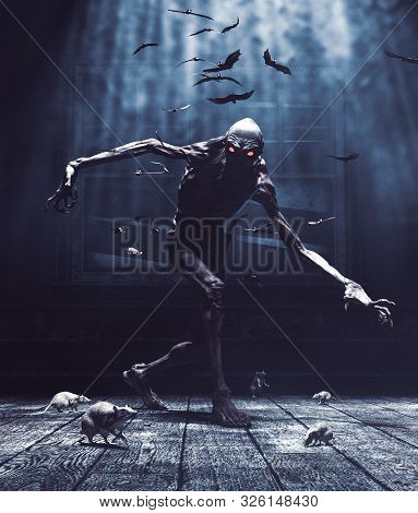 Bogeyman,monster In Haunted House,the Night Is Fall And The Devil Is Coming For You,3d Illustration
