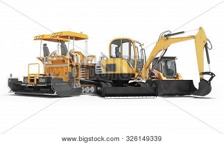 Concept Road Machinery Paver Excavator Small Loader 3d Render On White Background With Shadow