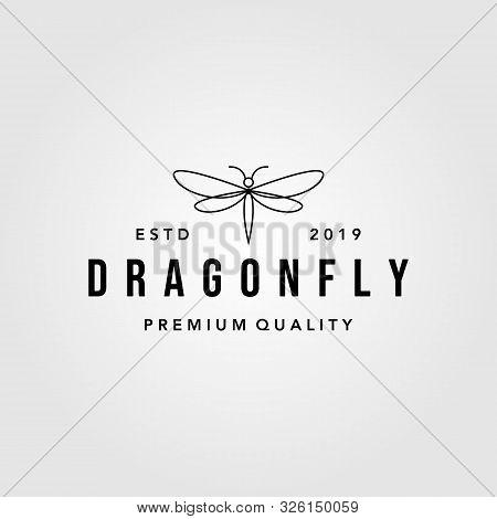 Line Art Dragonfly Vintage Logo Design Illustration