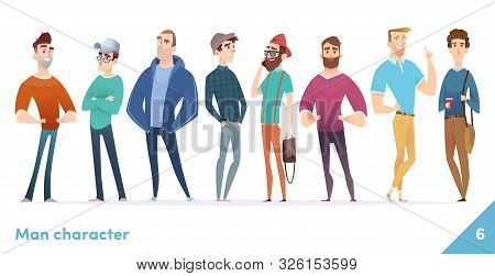 People Character Design Collection. Males Or Manegers Stand Together. Young Professional Males Poses