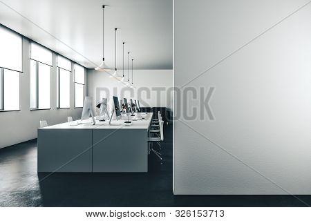 Mockup Wall In Open Space Office